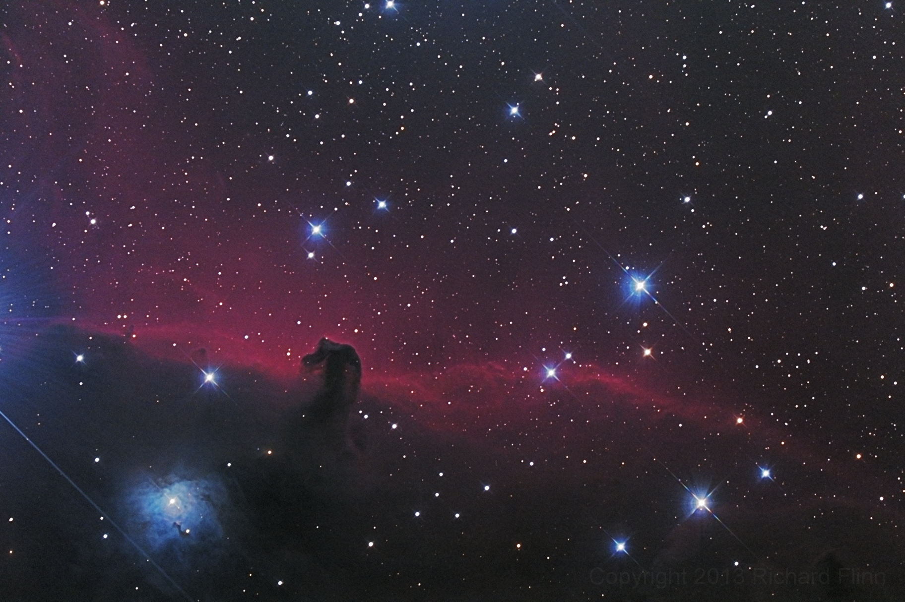 Horsehead Nebula (a.k.a. Barnard 33 in emission nebula IC 434) - dark nebula in the constellation Orion. Also includes: NGC 2023 - reflection nebulae in the constellation Orion.