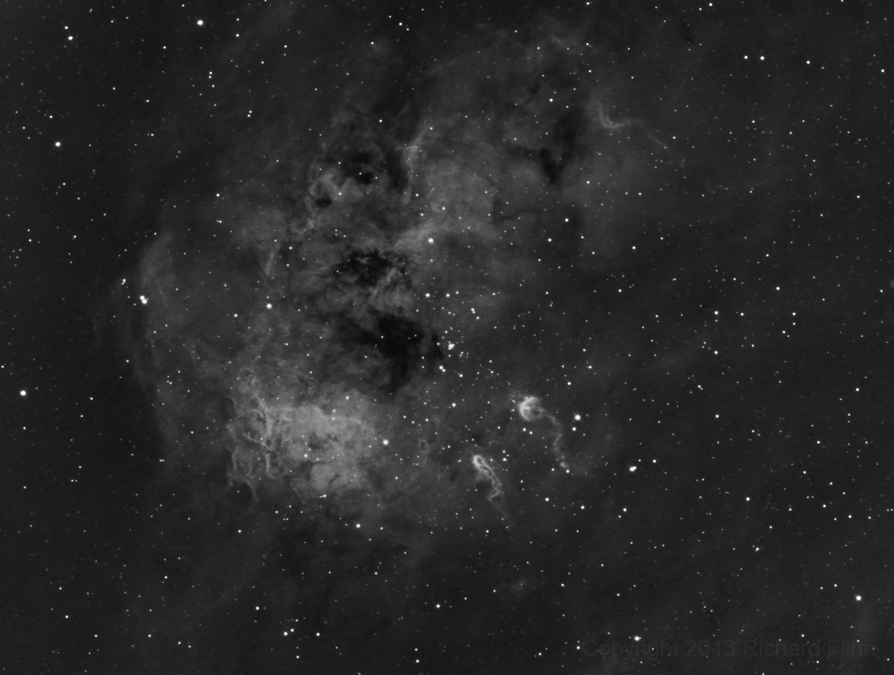 The Tadpoles of IC 410 Nebula. Also includes: NGC 1893 - open cluster in the constellation Auriga.