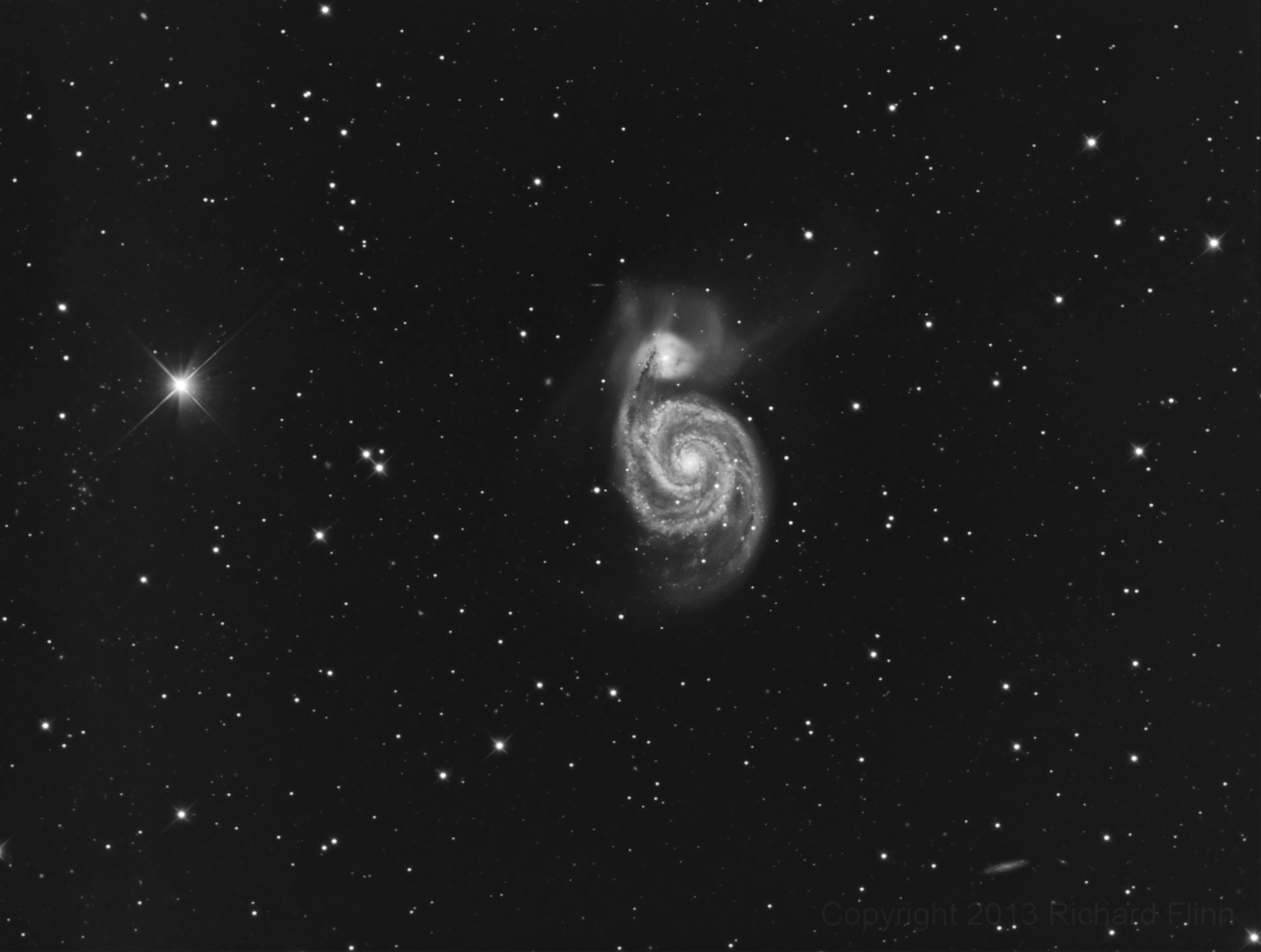 Whirlpool Galaxy (M51 or NGC 5194) - interacting grand-design spiral galaxy in the constellation Canes Venatici. Also includes: dwarf galaxy NGC 5195 (M51B); low surface brightness galaxy IC 4263.