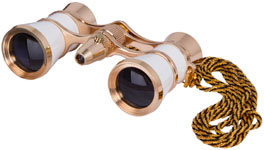 Levenhuk Broadway 325F Opera Glasses (white, with LED light and chain) picture