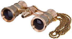Levenhuk Broadway 325F Opera Glasses (gold, with LED light and chain) picture